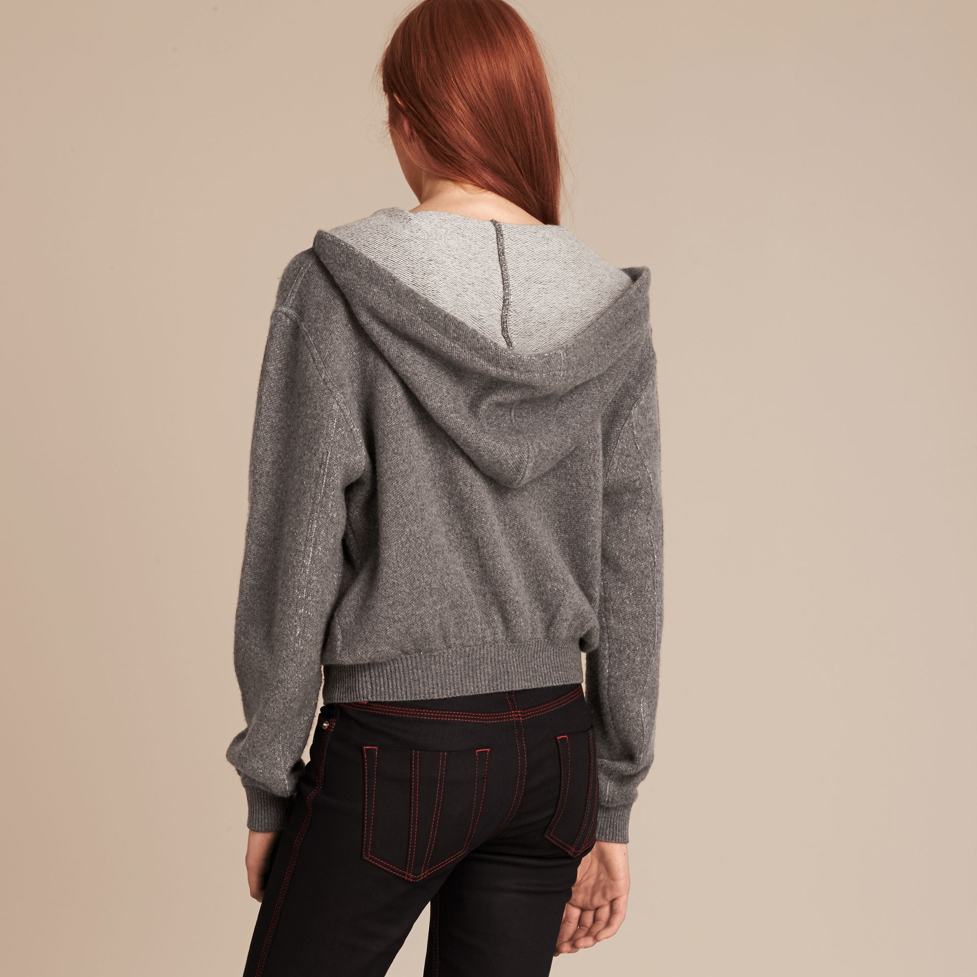 Dark grey melange Hooded Cashmere Cotton Jacket - gallery image 3