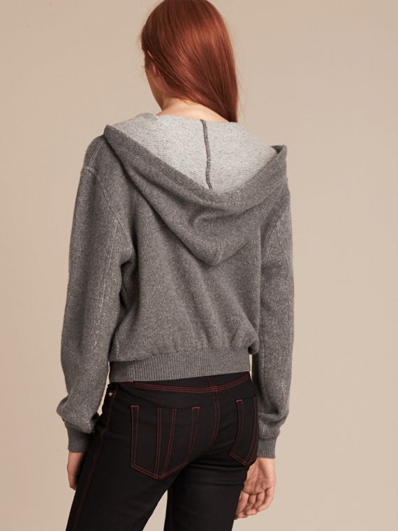 Dark grey melange Hooded Cashmere Cotton Jacket - cell image 2
