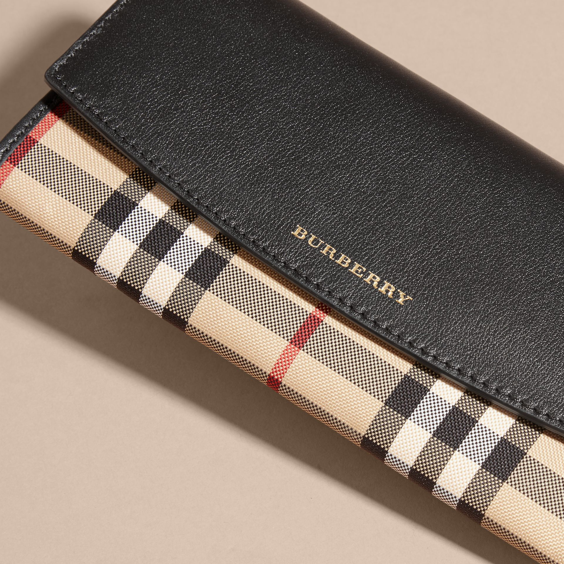 Horseferry Check and Leather Continental Wallet in Black - Women | Burberry - gallery image 2
