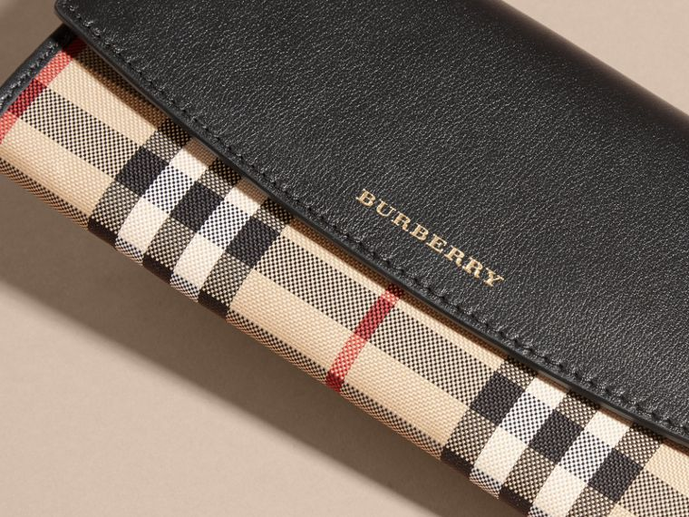Horseferry Check and Leather Continental Wallet in Black - Women | Burberry - cell image 1
