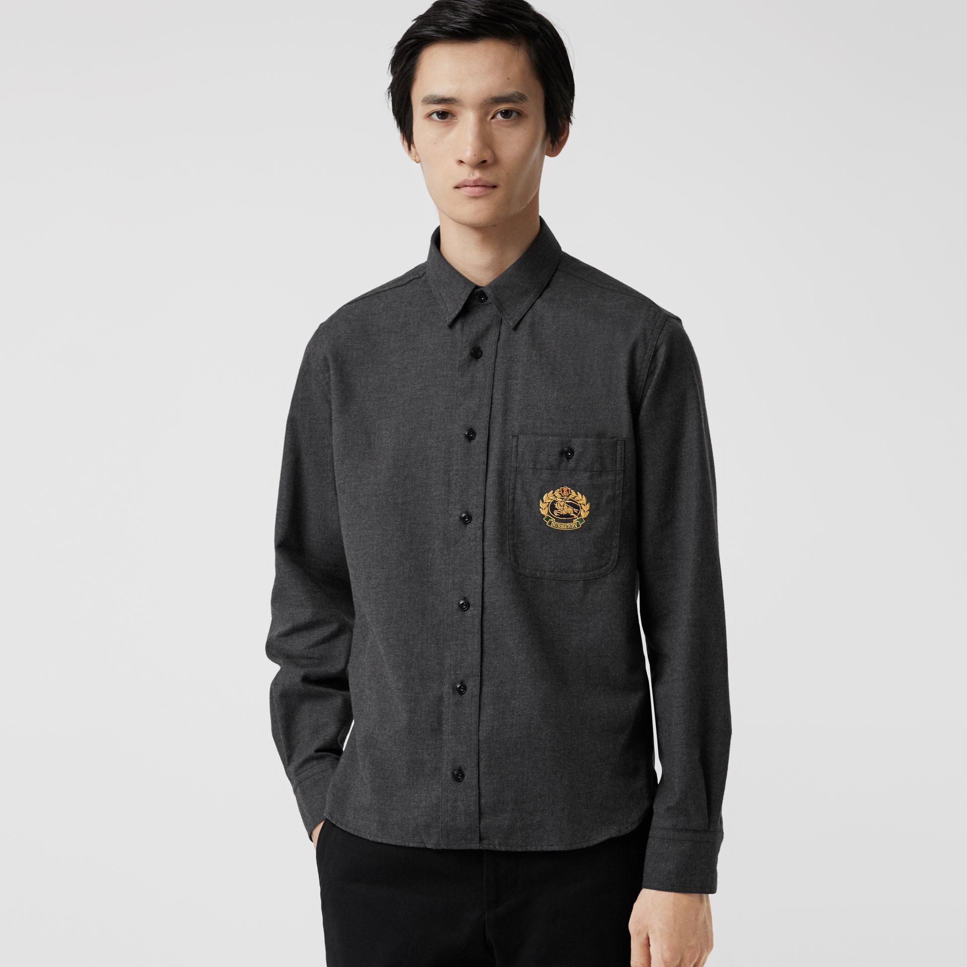 Embroidered Crest Flannel Shirt in Charcoal Melange - Men | Burberry United Kingdom - gallery image 0