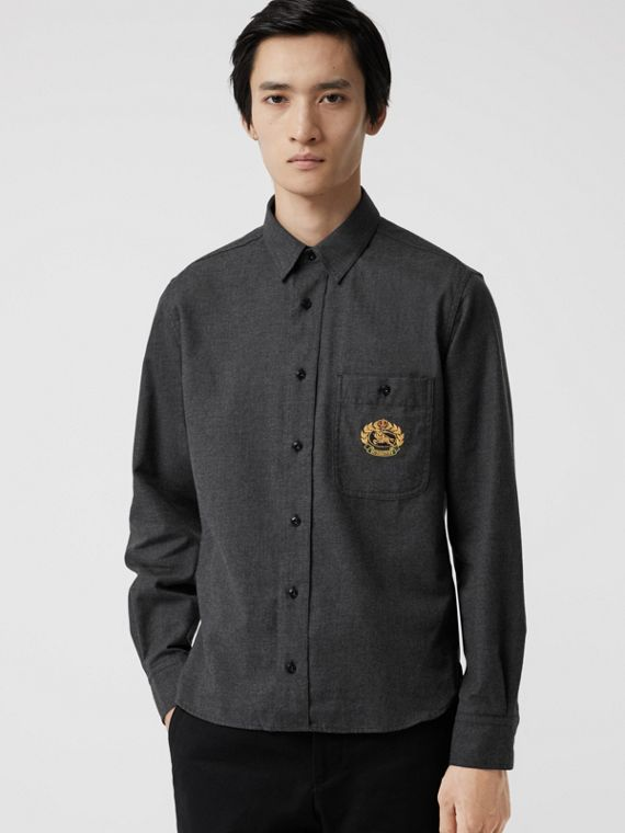 Embroidered Crest Flannel Shirt in Charcoal Melange