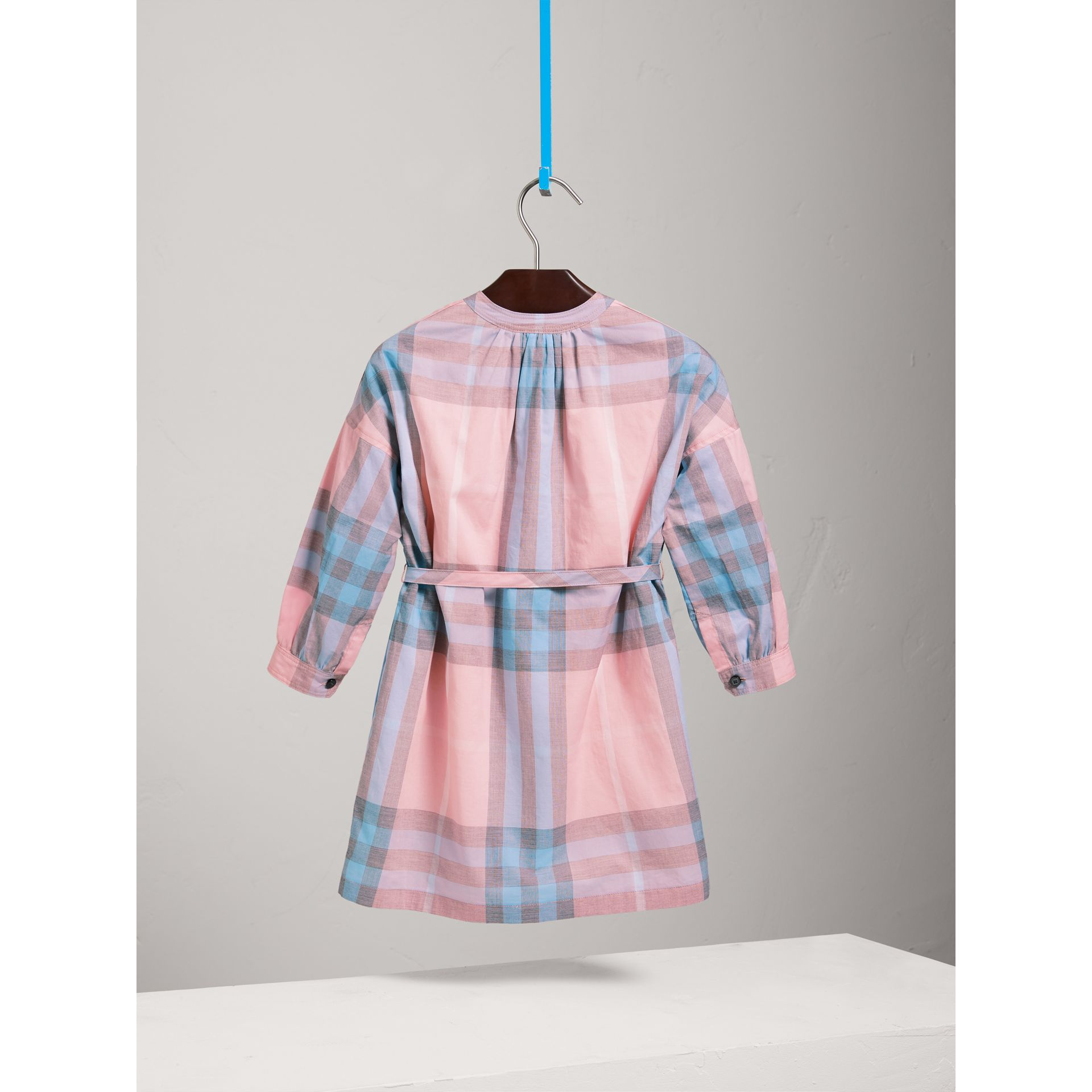 Check Cotton Shirt Dress in Ice Pink - Girl | Burberry - gallery image 3