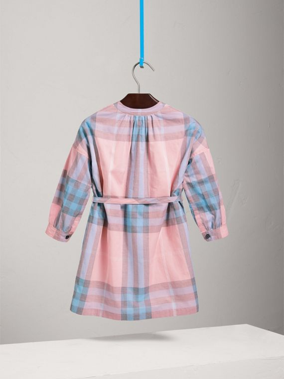 Check Cotton Shirt Dress in Ice Pink - Girl | Burberry - cell image 3