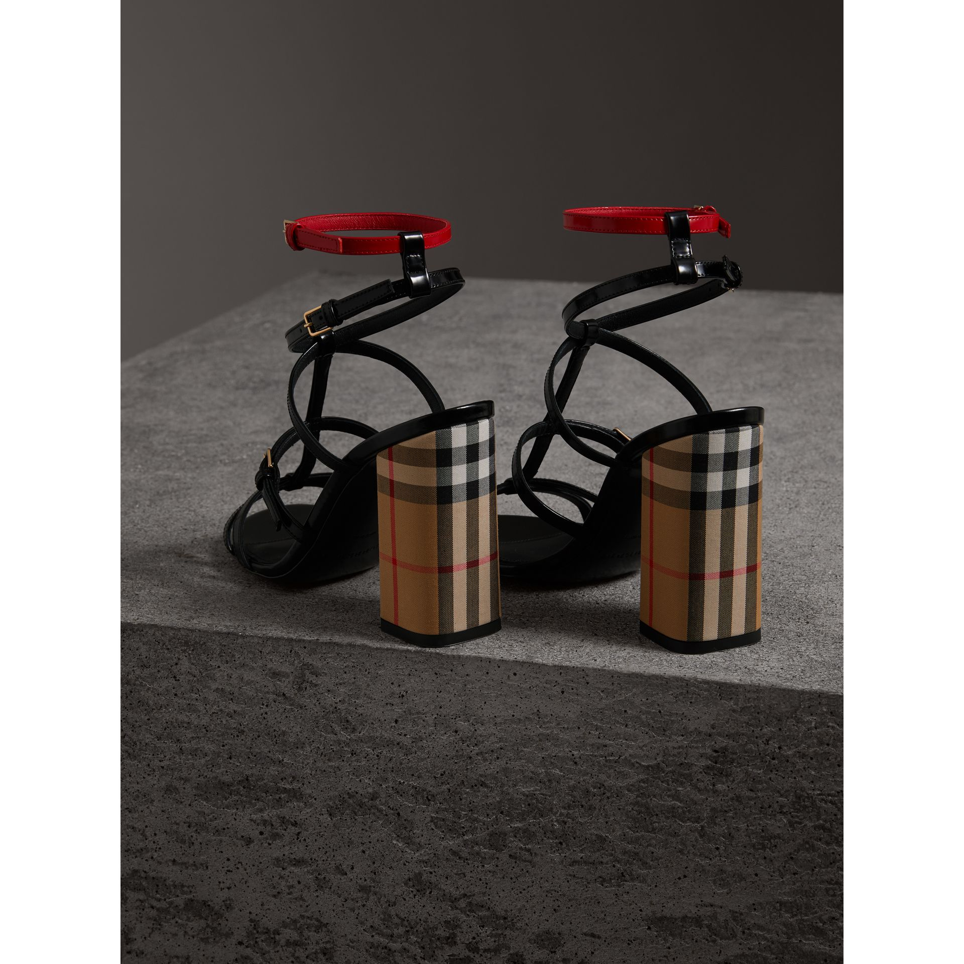 Vintage Check and Patent Leather Sandals in Black - Women | Burberry Singapore - gallery image 3