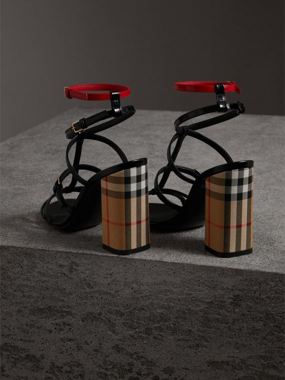 Vintage Check and Patent Leather Sandals in Black - Women | Burberry Singapore - cell image 3