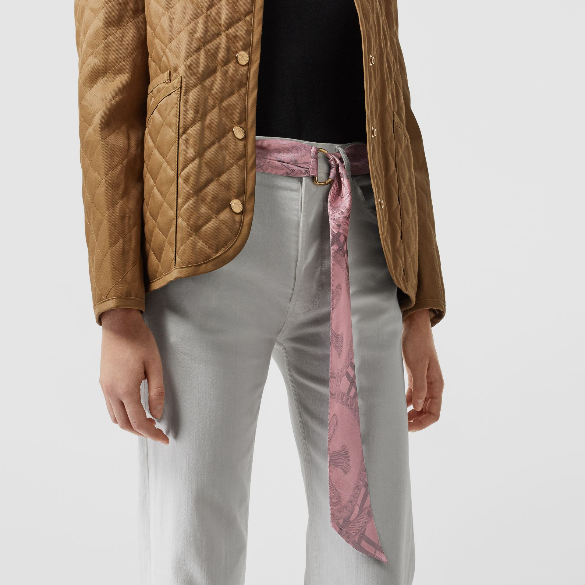 D-ring Detail Chain Silk Jacquard Skinny Scarf in Pale Rose | Burberry - gallery image 3