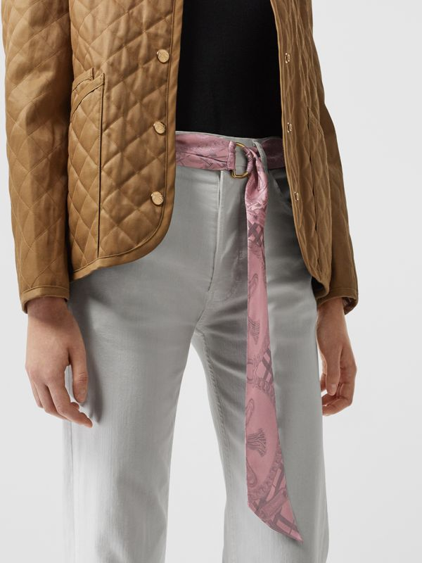 D-ring Detail Chain Silk Jacquard Skinny Scarf in Pale Rose | Burberry - cell image 3