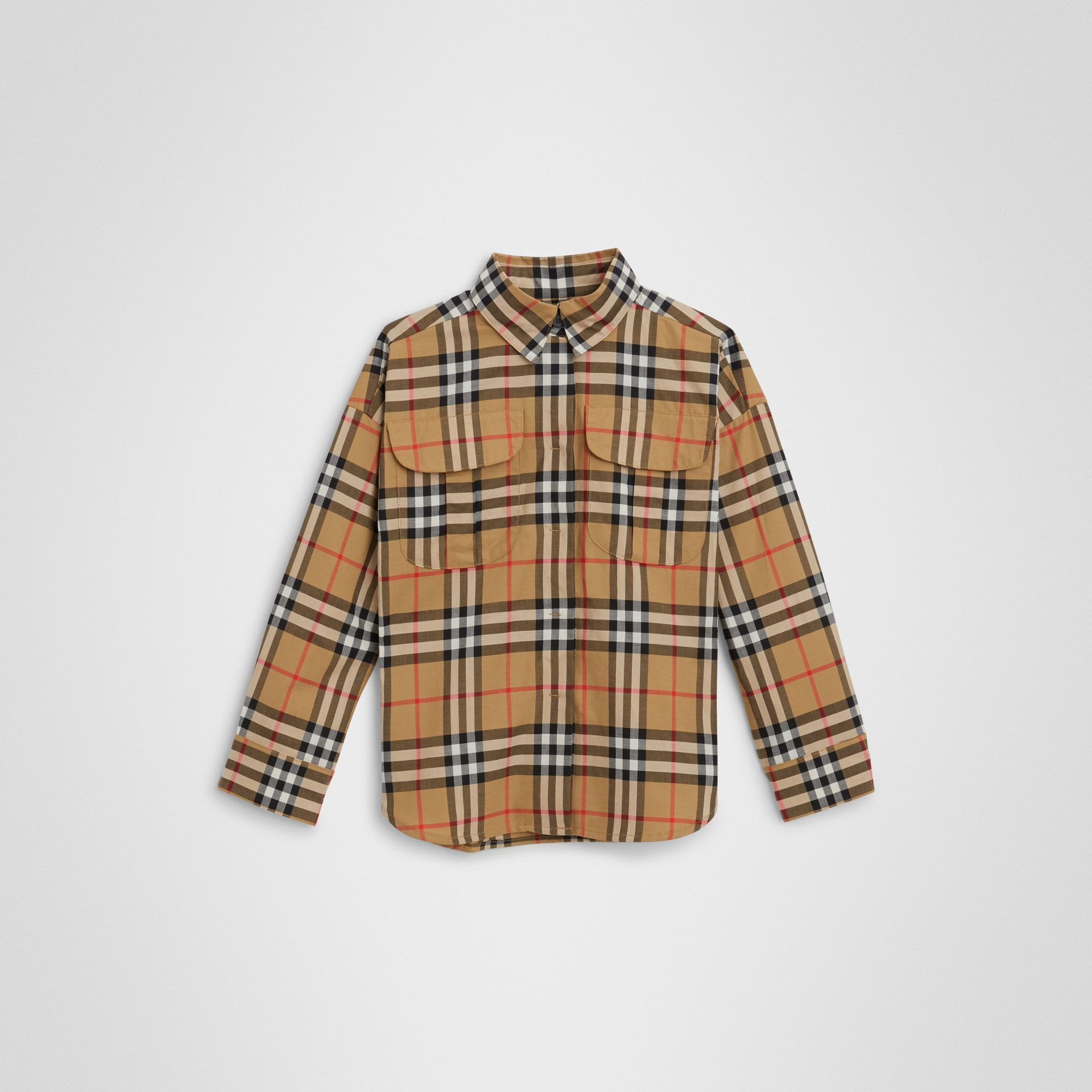 Vintage Check Cotton Shirt in Antique Yellow | Burberry Australia - gallery image 0