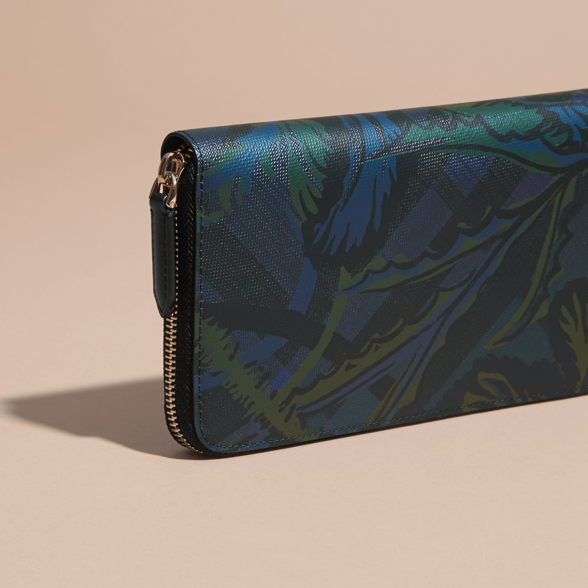 Floral Print London Check Ziparound Wallet Navy - gallery image 4