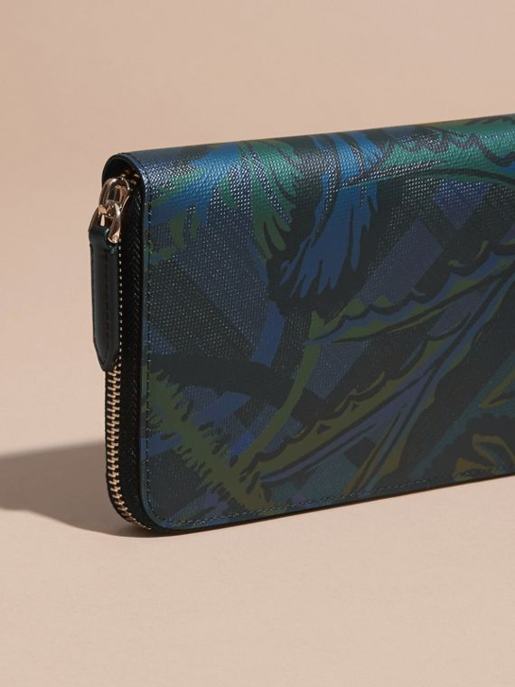 Floral Print London Check Ziparound Wallet Navy - cell image 3