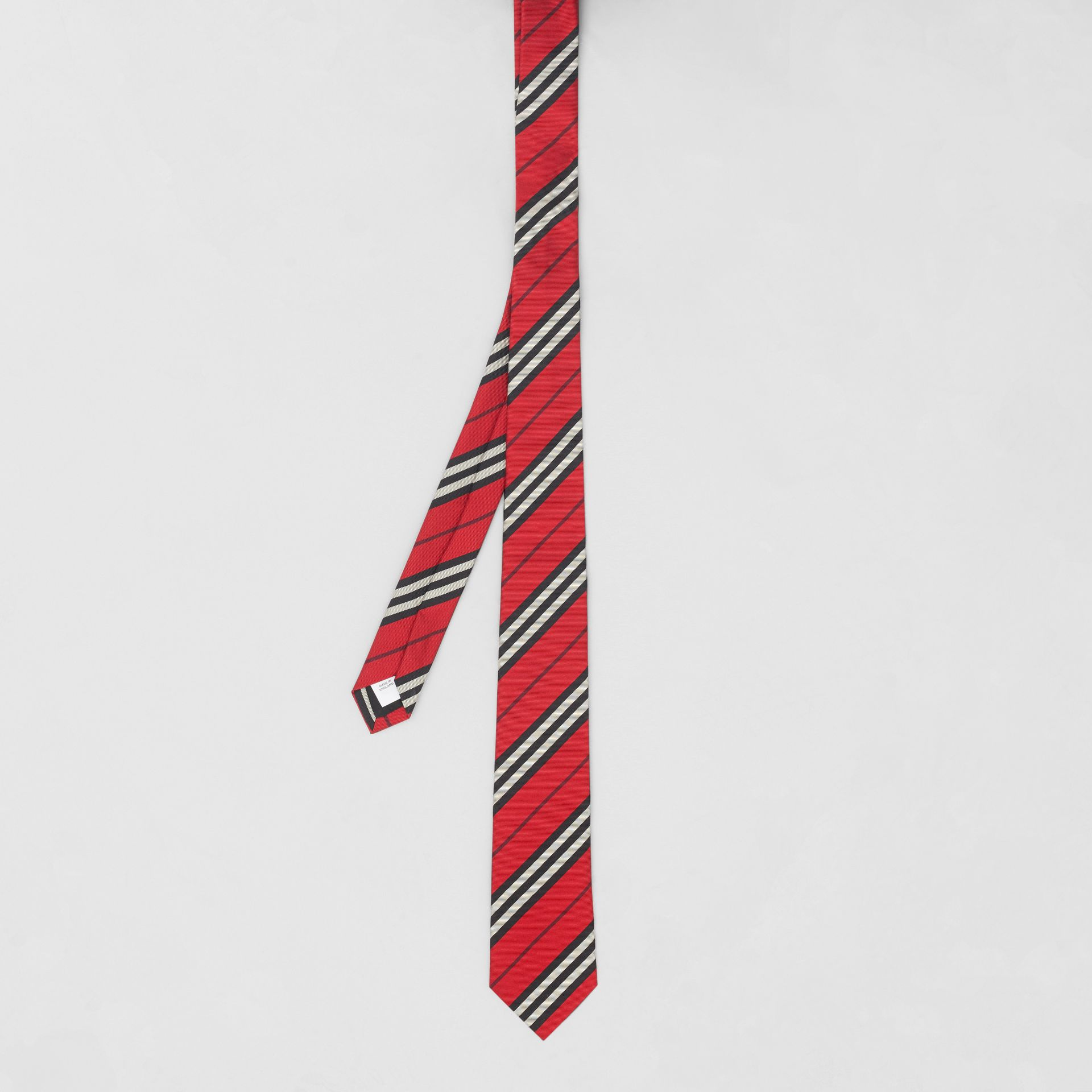 Classic Cut Striped Silk Jacquard Tie in Bright Red - Men | Burberry - gallery image 4
