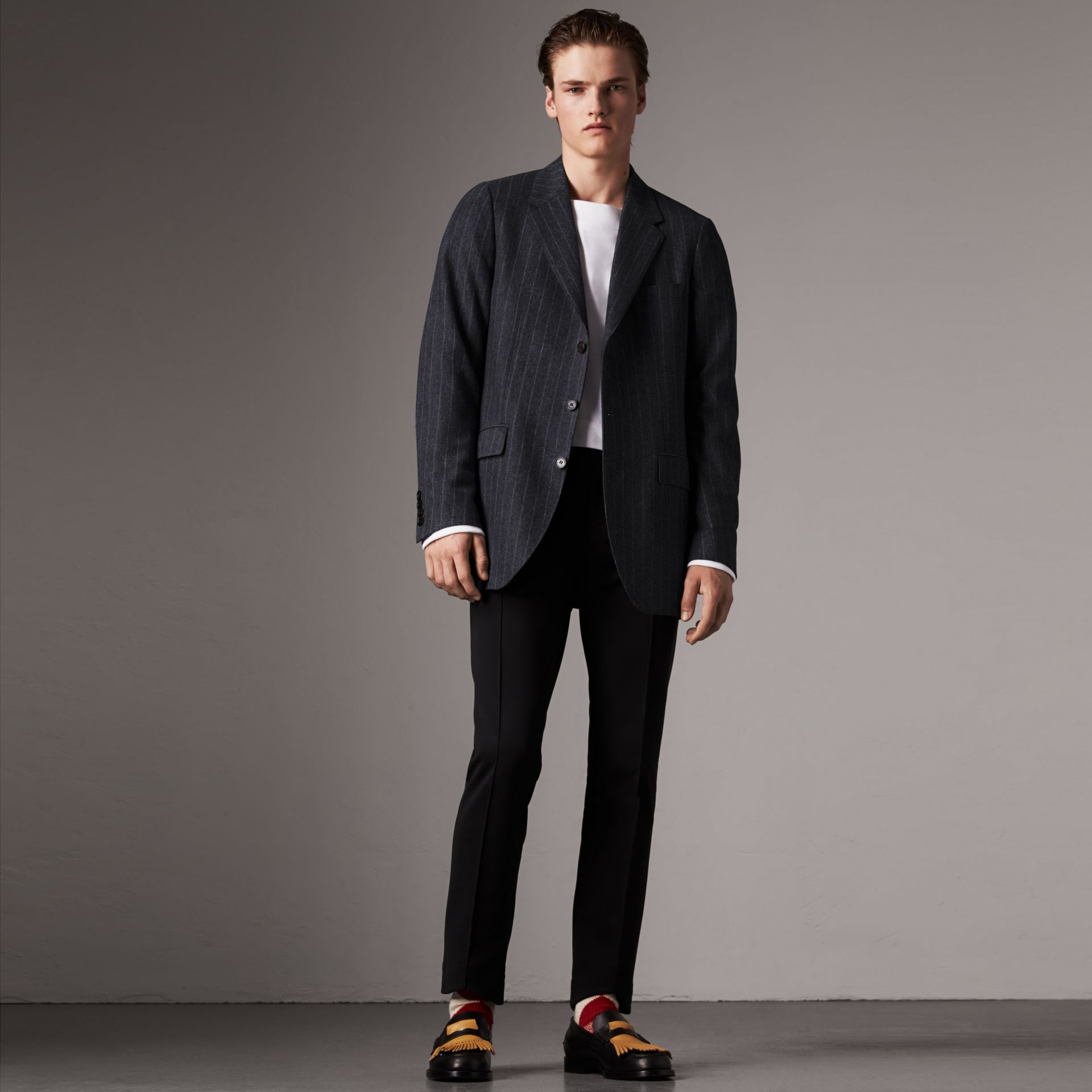 Pinstripe Wool Tailored Jacket in Navy - Men | Burberry United Kingdom - gallery image 0
