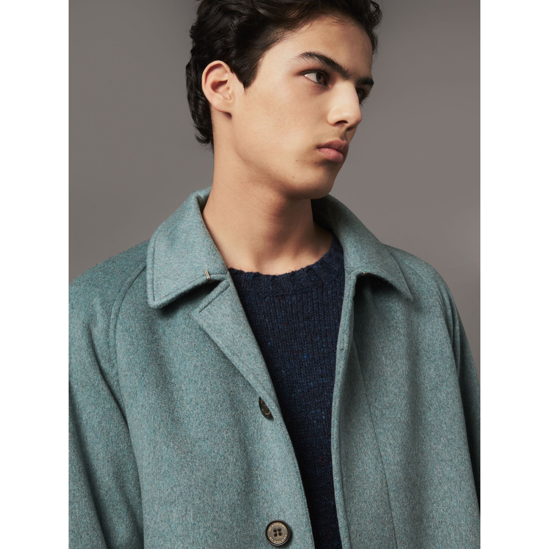 Cashmere Car Coat in Storm Green Melange - Men | Burberry Australia - gallery image 2