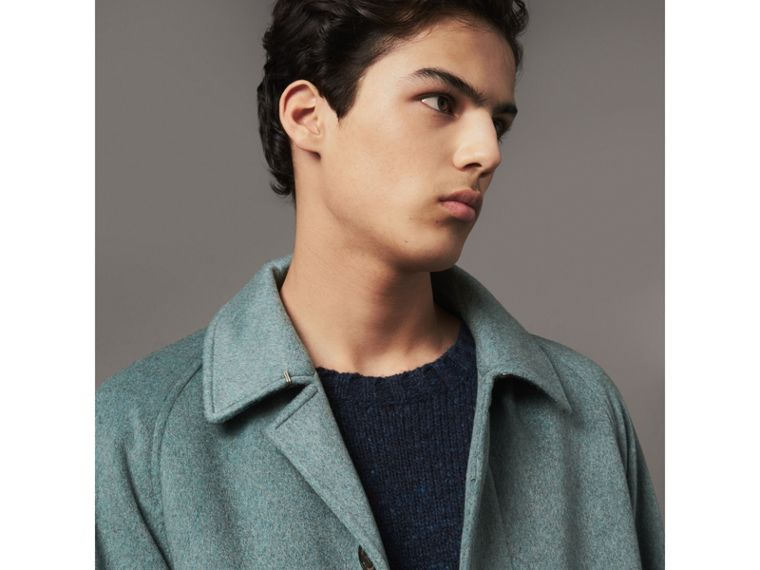 Cashmere Car Coat in Storm Green Melange - Men | Burberry Australia - cell image 1