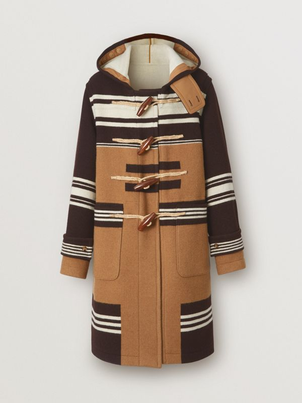Stripe Detail Wool Duffle Coat in Camel - Men | Burberry - cell image 3