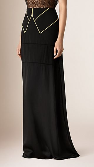 Long Silk Skirt with Military-Inspired Trim