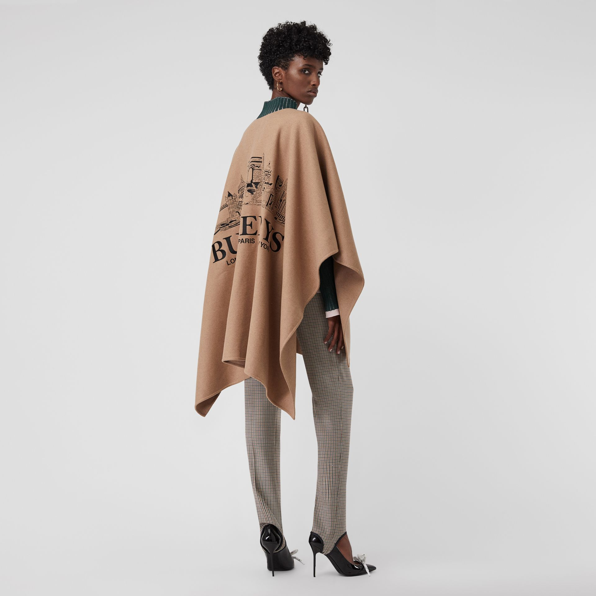 Embroidered Skyline Cashmere Poncho in Camel - Women | Burberry - gallery image 0
