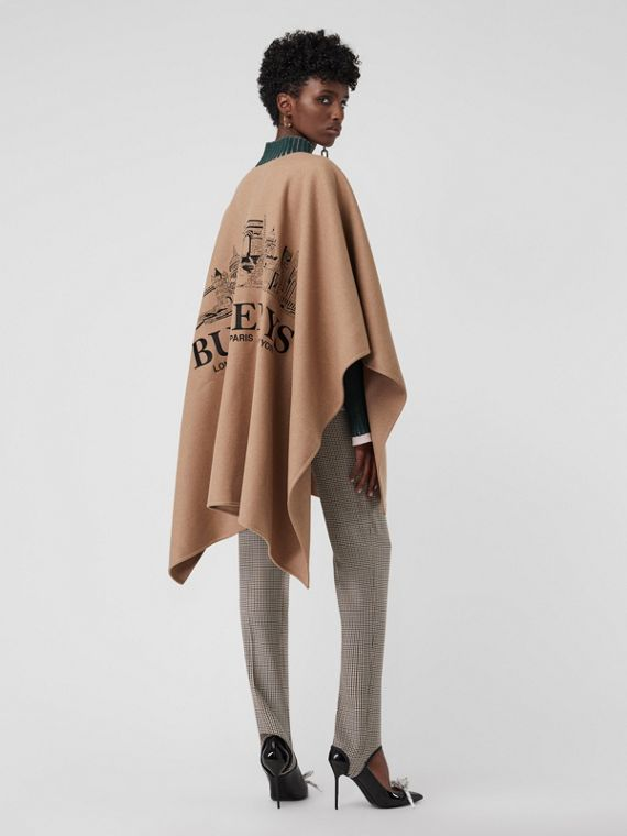 Embroidered Skyline Cashmere Poncho in Camel
