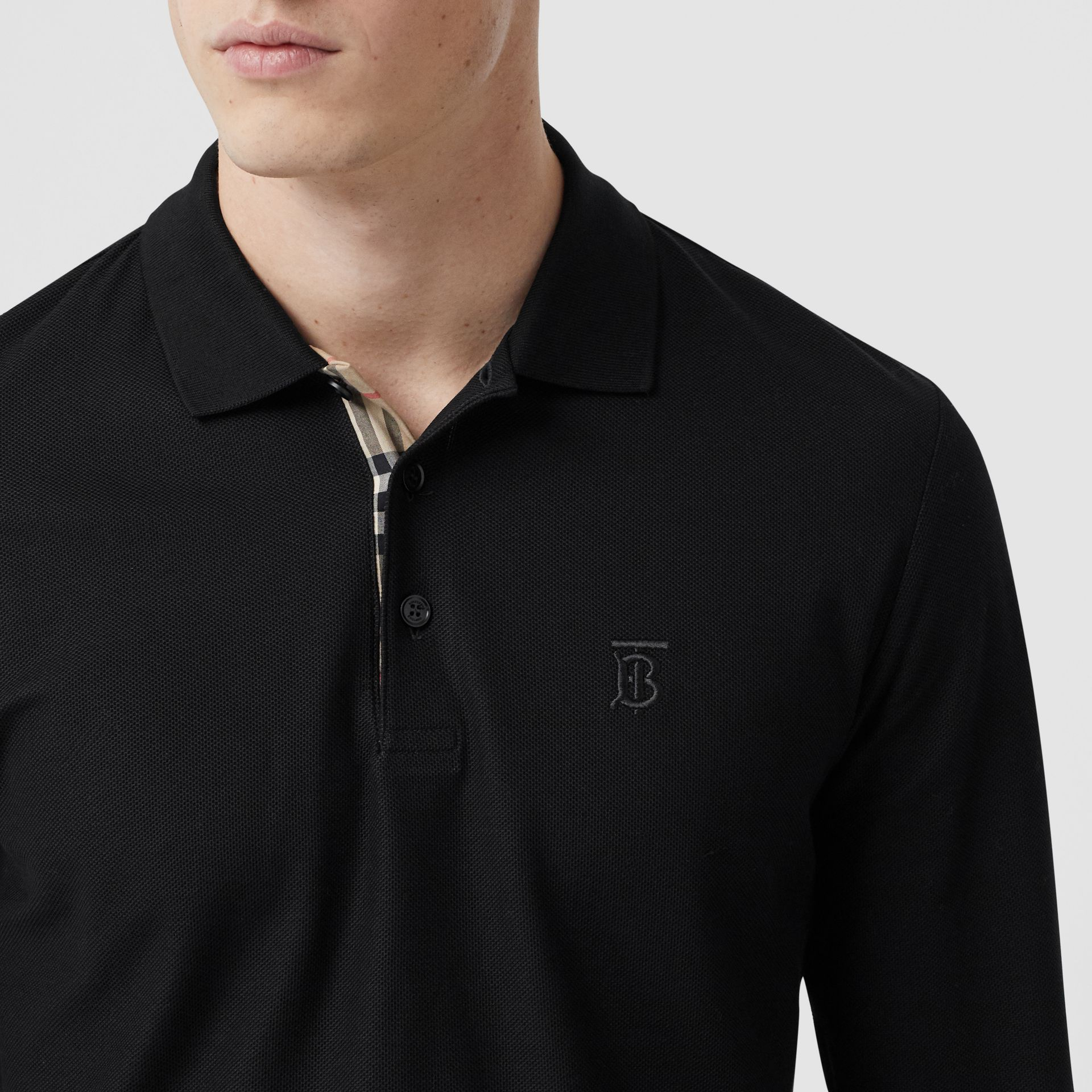 Long-sleeve Monogram Motif Cotton Piqué Polo Shirt in Black - Men | Burberry - gallery image 1