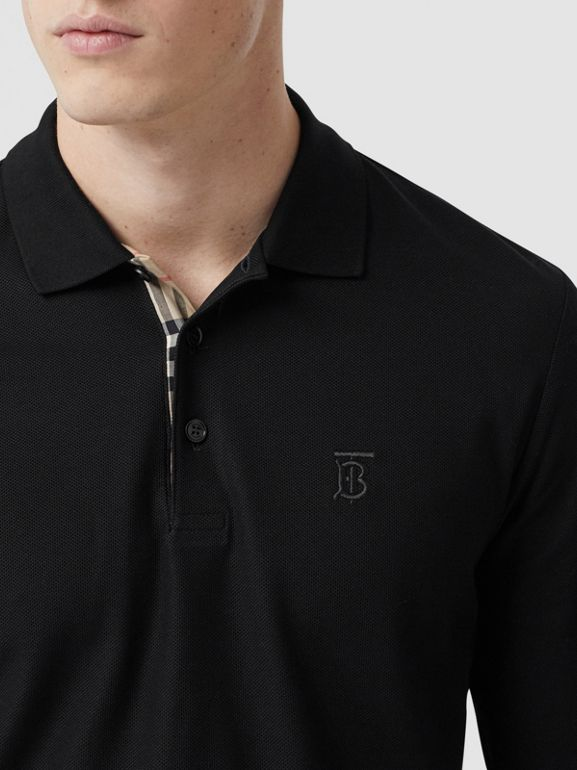 Long-sleeve Monogram Motif Cotton Piqué Polo Shirt in Black - Men | Burberry - cell image 1