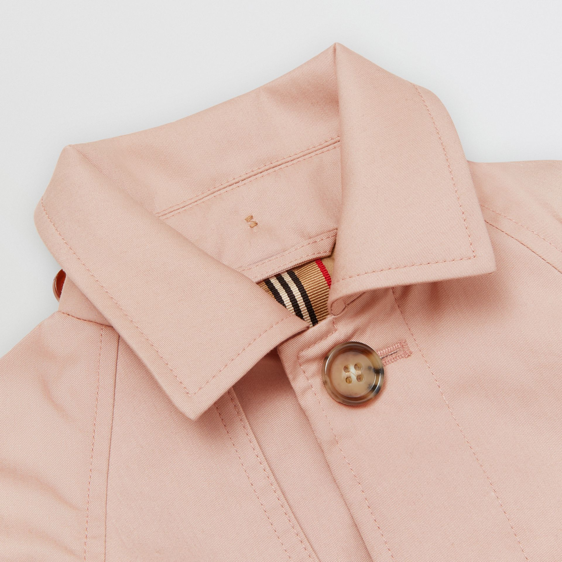 Detachable Hood Cotton Twill Car Coat in Ice Pink - Children | Burberry - gallery image 1