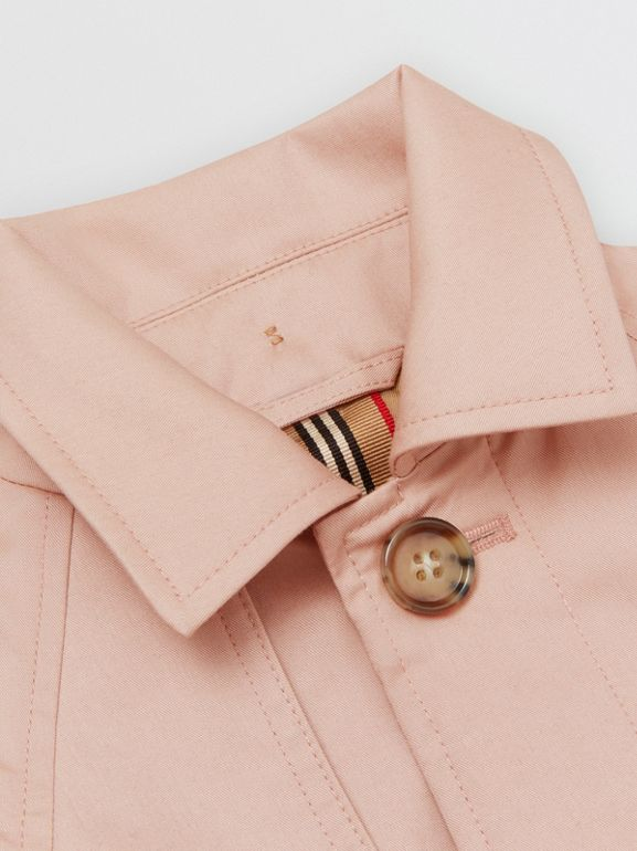 Detachable Hood Cotton Twill Car Coat in Ice Pink - Children | Burberry - cell image 1