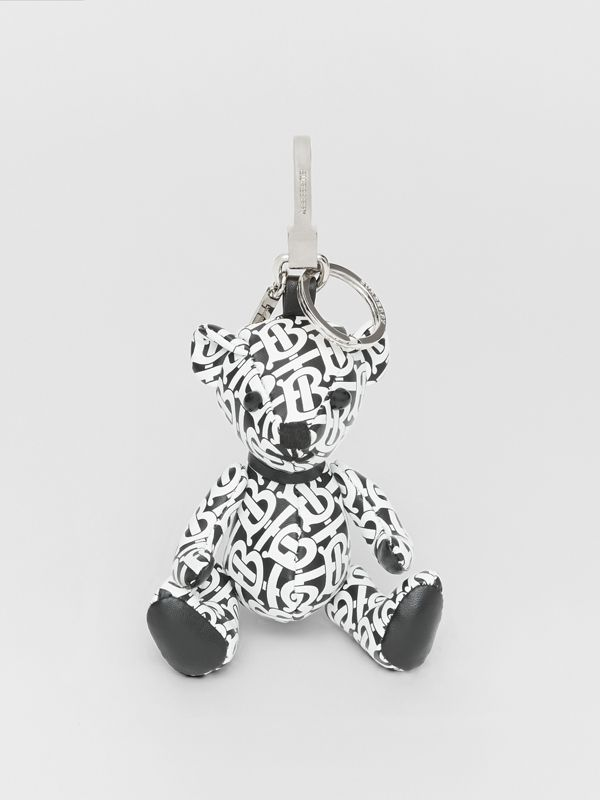 Thomas Bear Charm in Monogram Print Leather in Black/white | Burberry - cell image 2