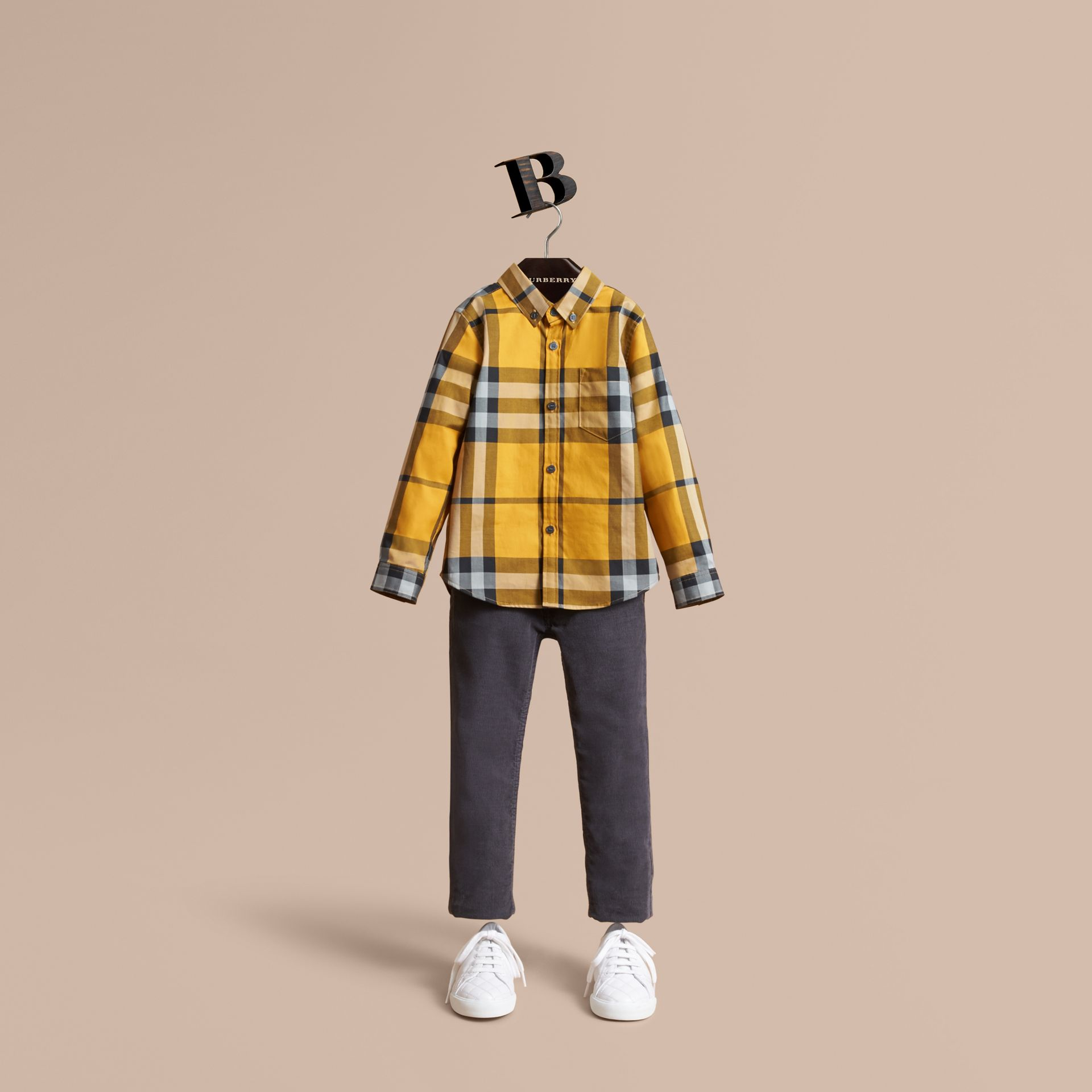 Check Cotton Button-Down Shirt in Saffron Yellow - Boy | Burberry United Kingdom - gallery image 1