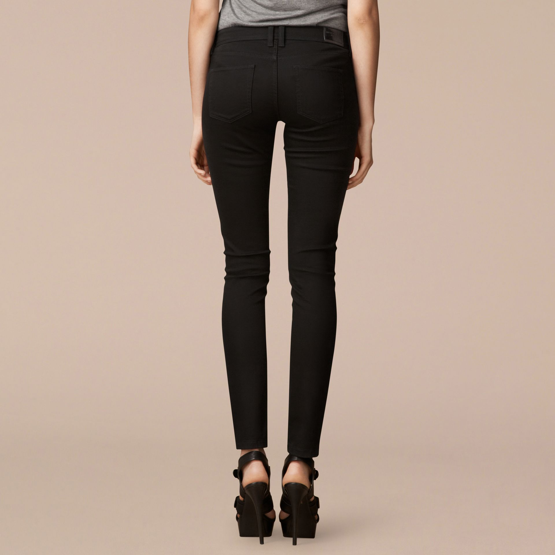 Skinny Fit Low-Rise Deep Black Jeans - Women | Burberry - gallery image 3