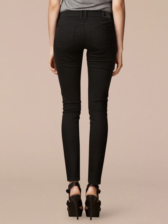Skinny Fit Low-Rise Deep Black Jeans - Women | Burberry - cell image 2