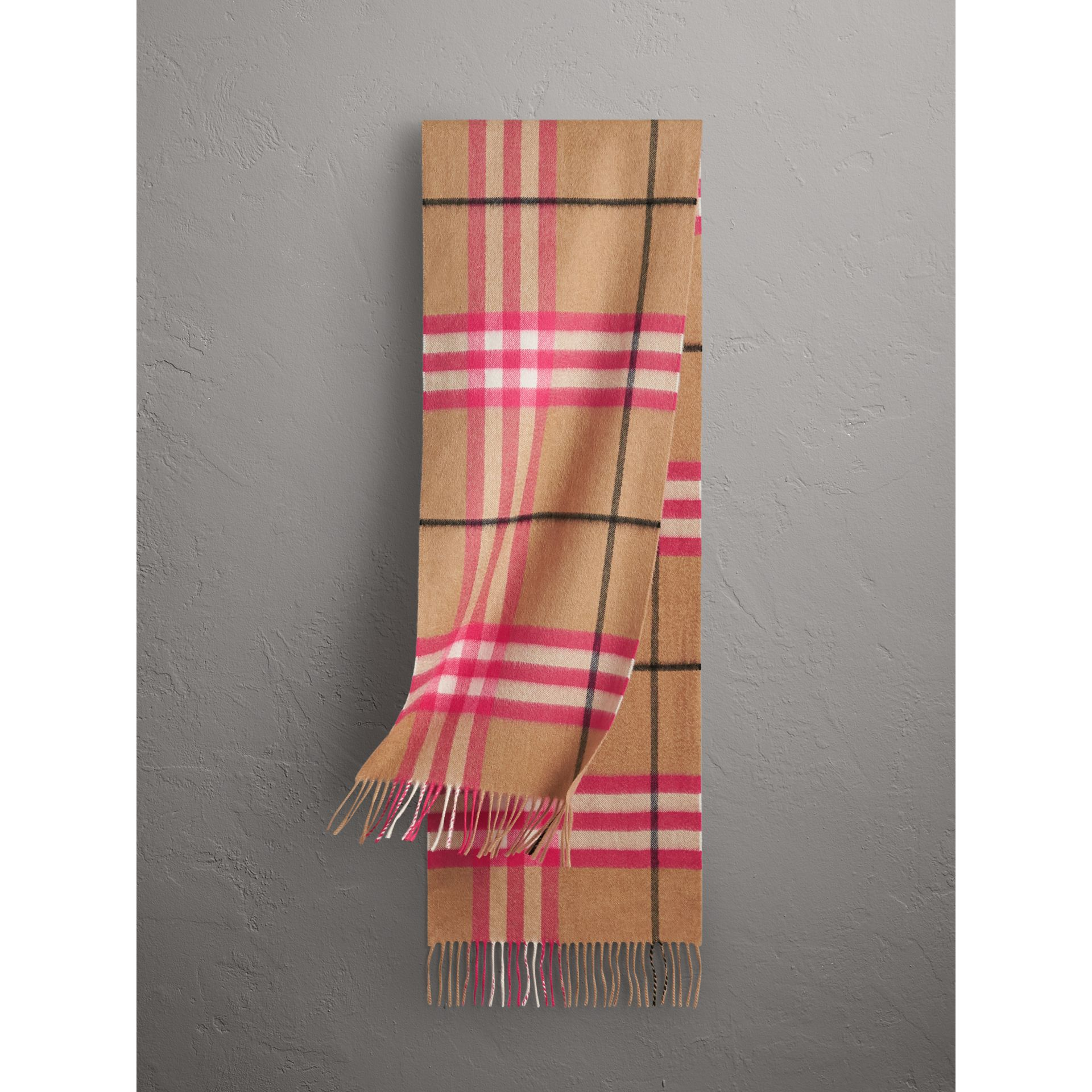The Classic Check Cashmere Scarf in Bright Peony | Burberry Singapore - gallery image 0