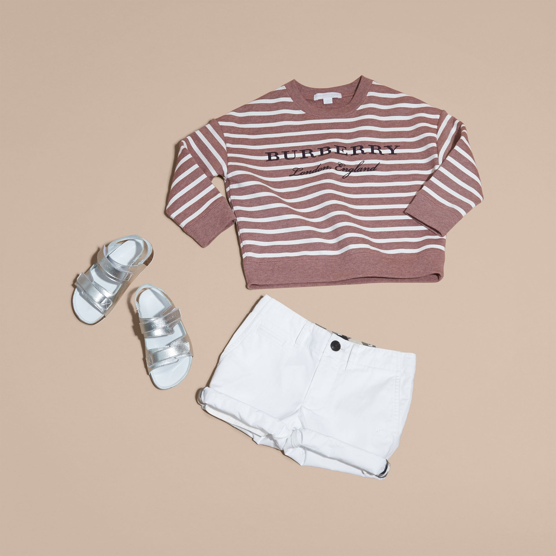 Striped Cotton Sweatshirt in Pink Azalea Melange - gallery image 5