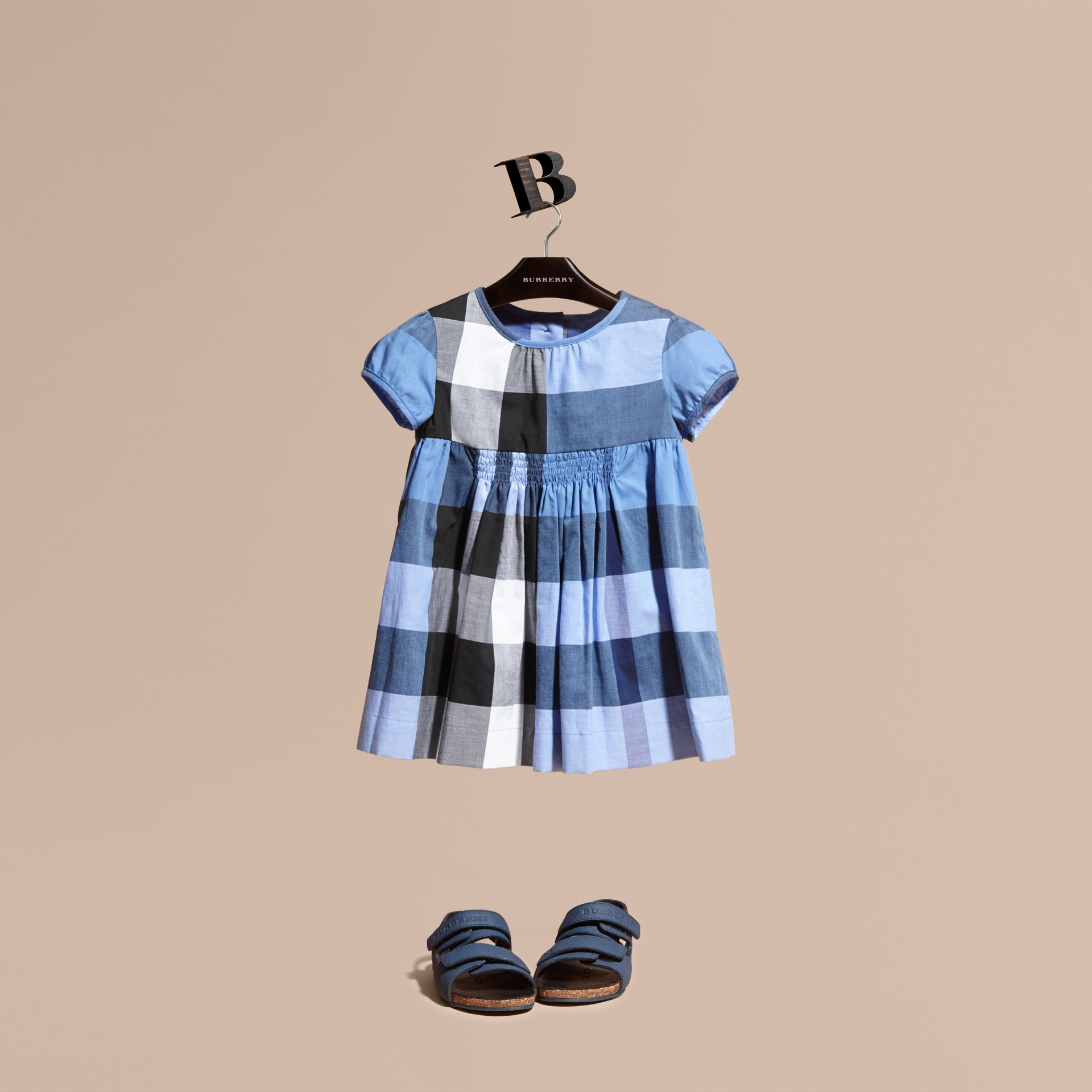 Cap-sleeved Check Cotton Voile Dress Hydrangea Blue - gallery image 1