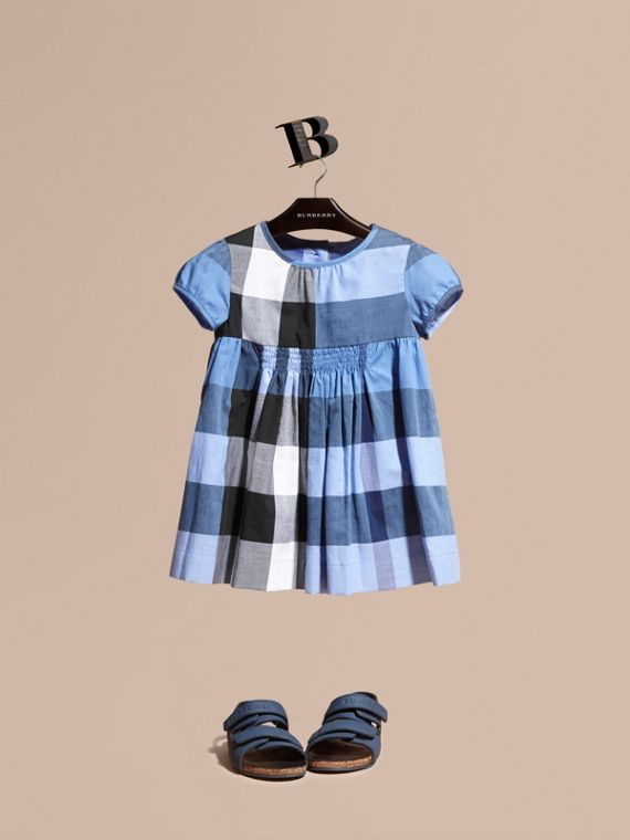 Cap-sleeved Check Cotton Voile Dress Hydrangea Blue