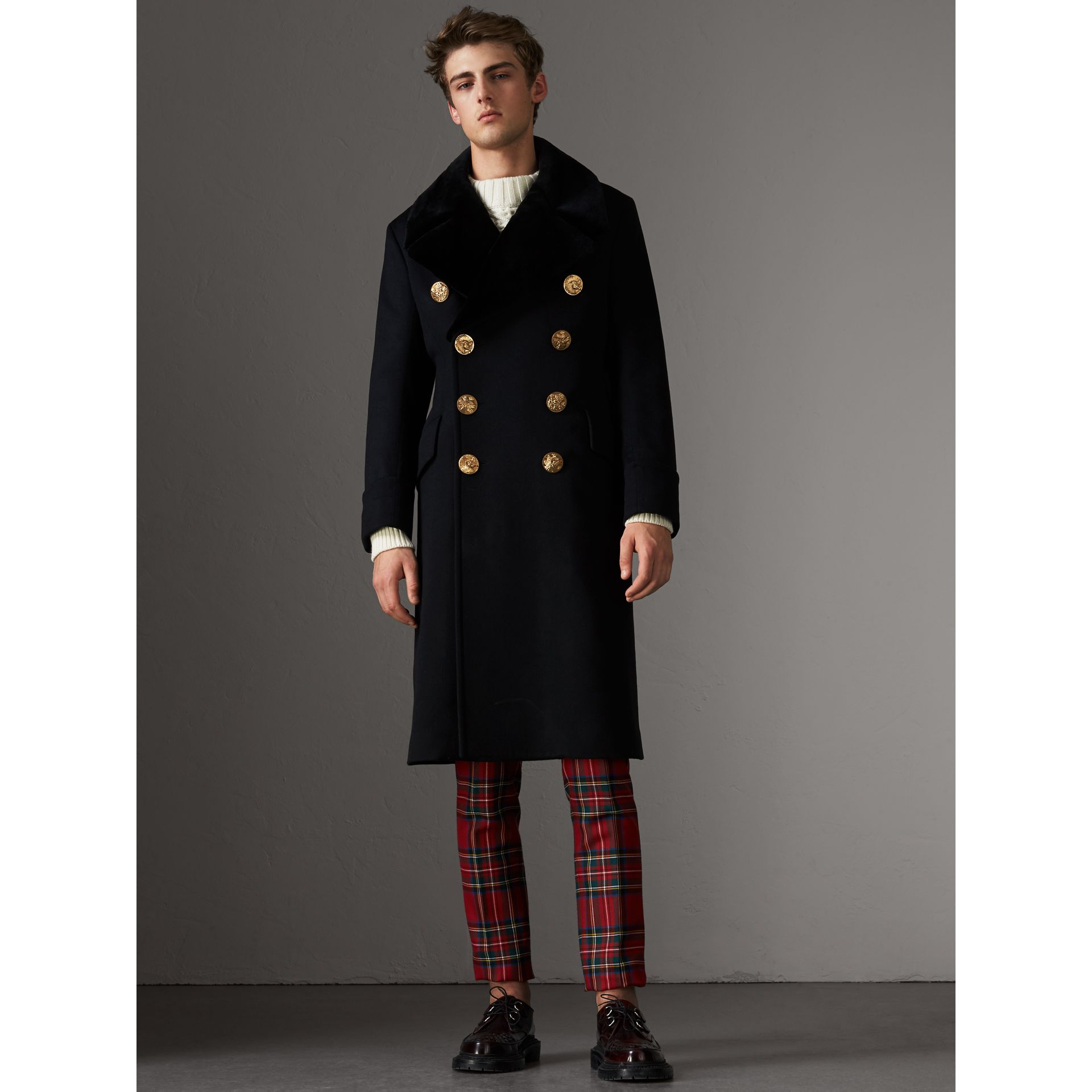 Detachable Mink Collar Cashmere Wool Greatcoat in Black - Men | Burberry United Kingdom - gallery image 6