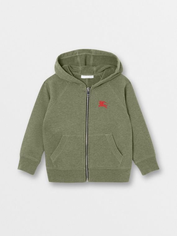Cotton Jersey Hooded Top in Olive Melange