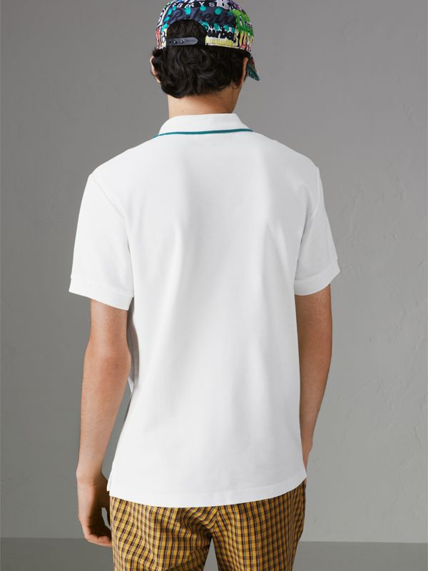 Archive Logo Cotton Piqué Polo Shirt in White - Men | Burberry Singapore - cell image 2