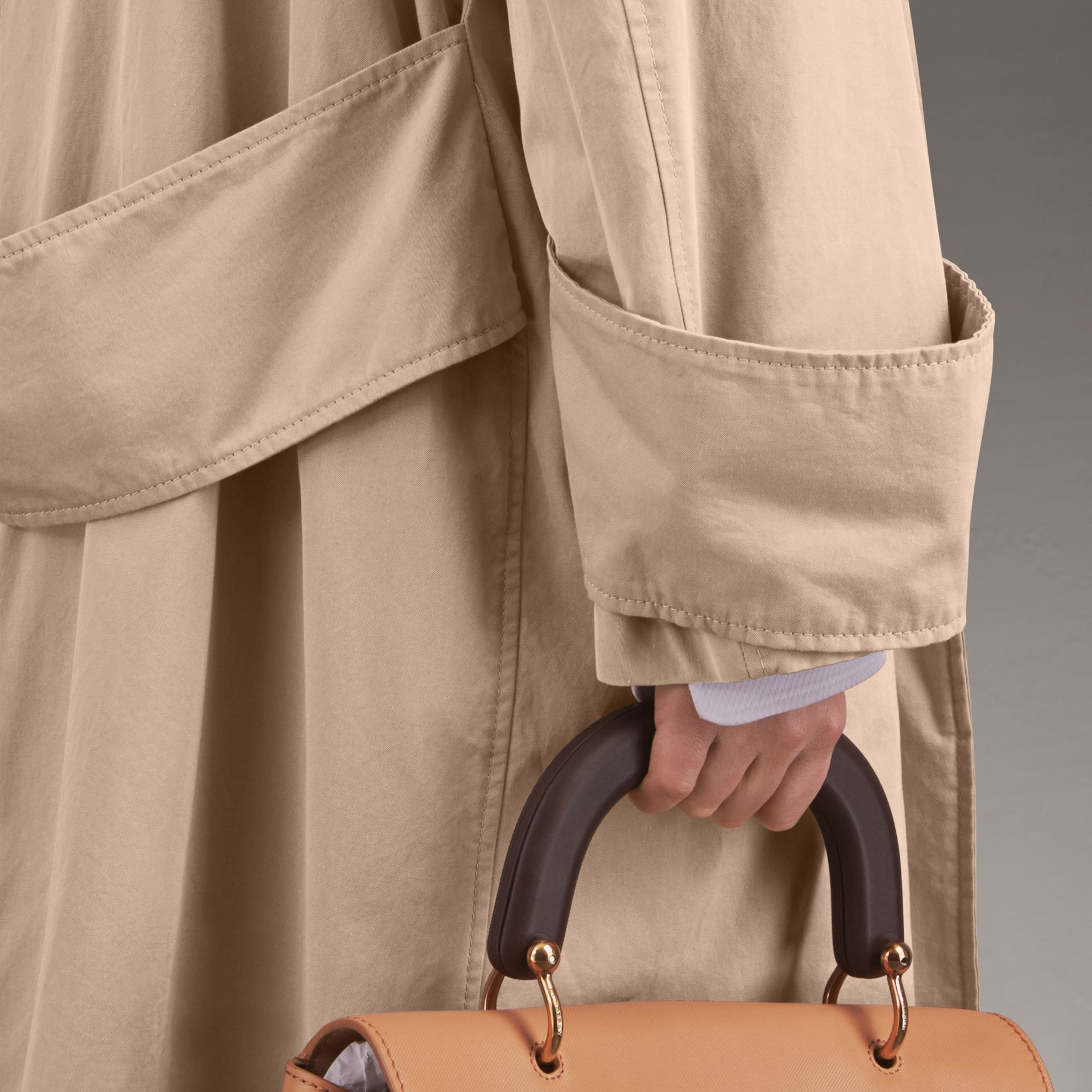 Unisex Tropical Gabardine Car Coat with Exaggerated Cuffs in Light Taupe - Women | Burberry - gallery image 6