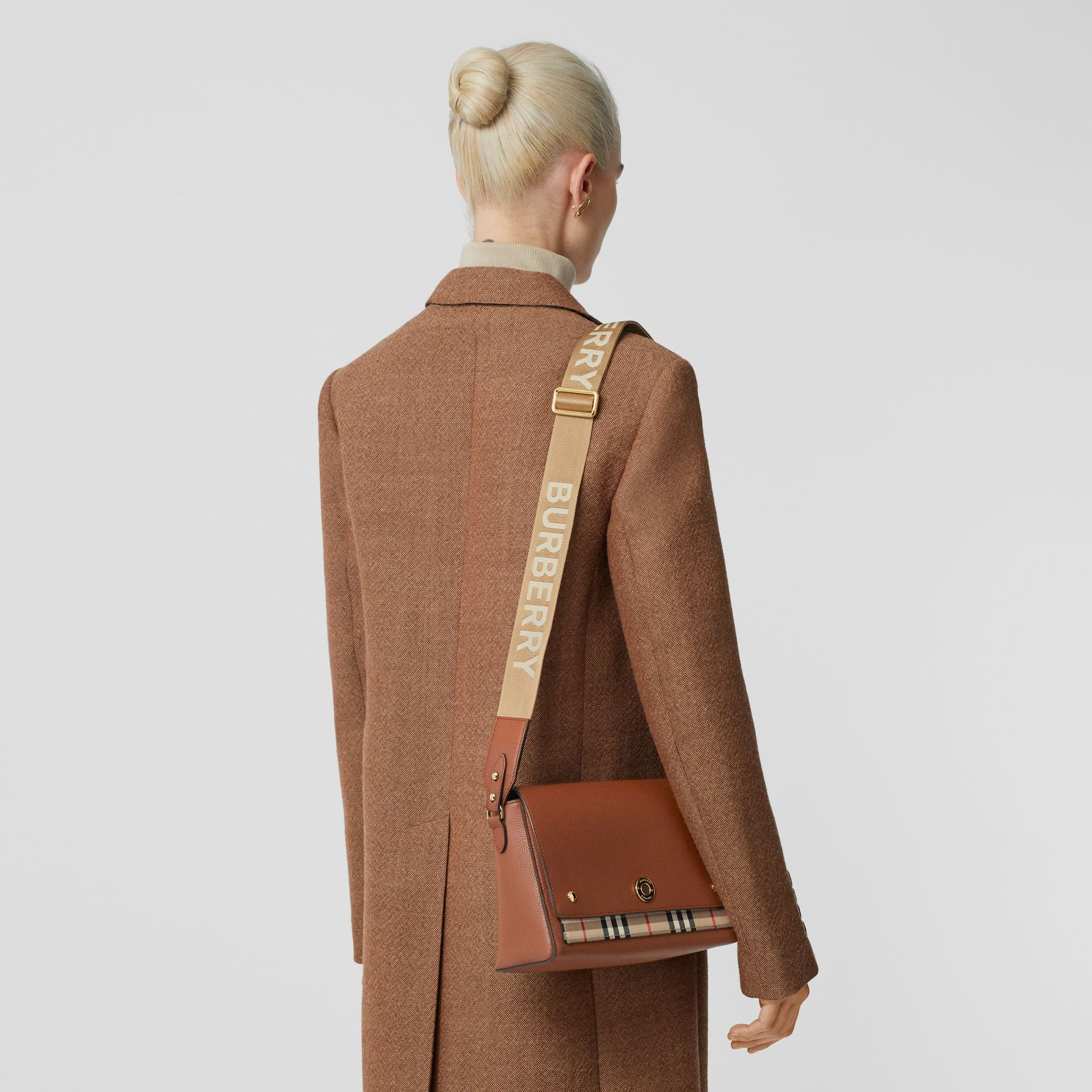 Leather and Vintage Check Note Crossbody Bag in Tan - Women | Burberry - gallery image 2