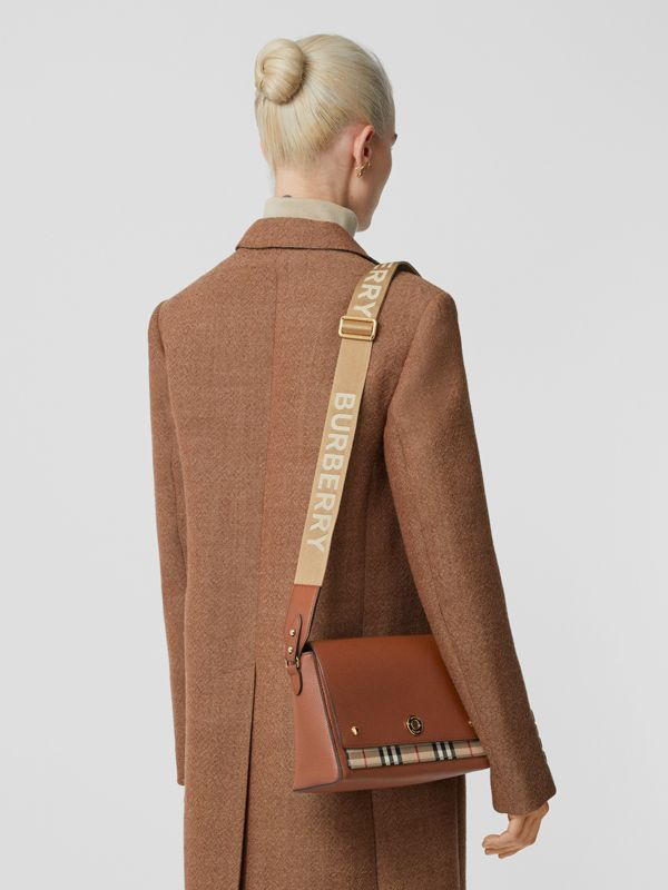 Leather and Vintage Check Note Crossbody Bag in Tan - Women | Burberry United Kingdom - cell image 2