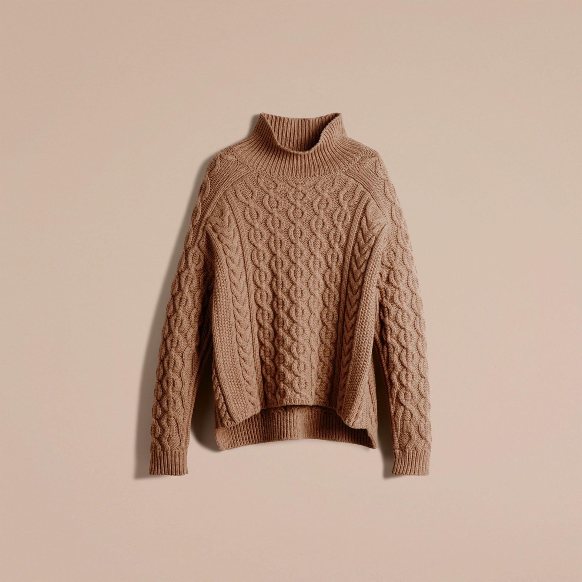 Camel Wool Cashmere Cable Knit Jumper - gallery image 4