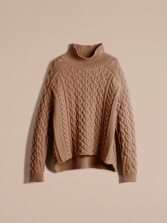 Camel Wool Cashmere Cable Knit Jumper - cell image 3