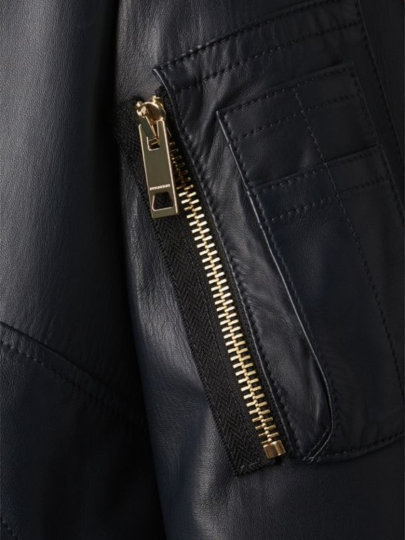 Lightweight Lambskin Bomber Jacket in Navy - Women | Burberry - cell image 3