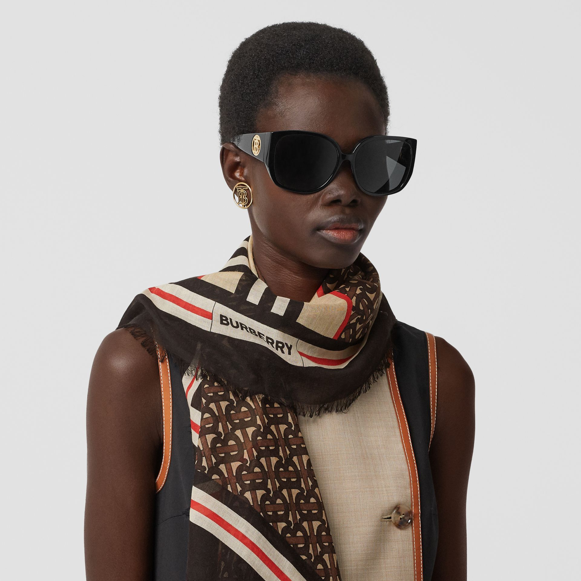 Icon Stripe Monogram Print Wool Silk Square Large Scarf in Dark Mocha | Burberry Australia - gallery image 2