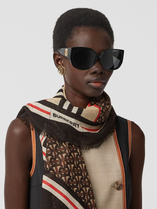 Icon Stripe Monogram Print Wool Silk Square Large Scarf in Dark Mocha | Burberry Australia - cell image 2