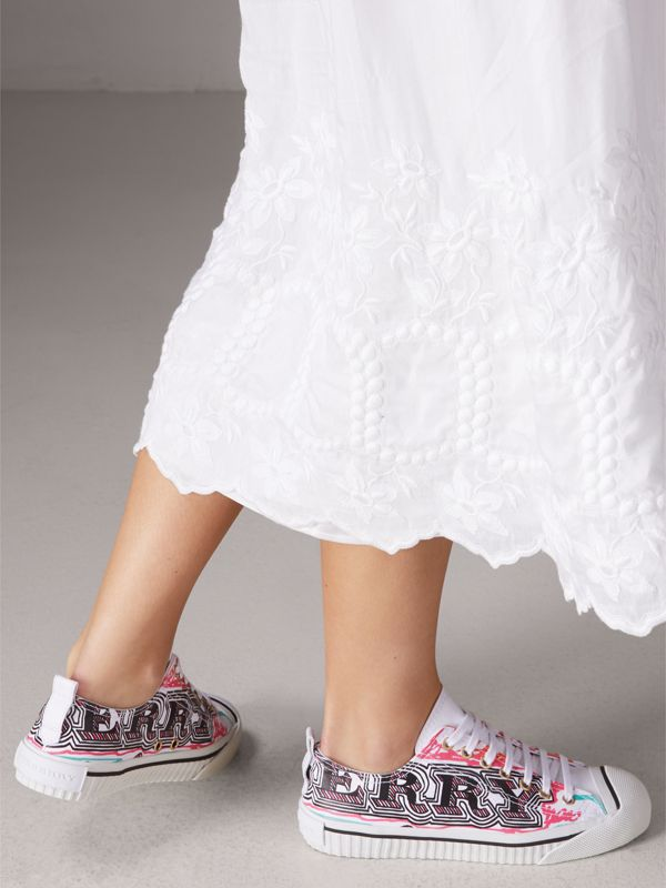 Doodle Print Coated Cotton Sneakers in Optic White - Women | Burberry - cell image 2