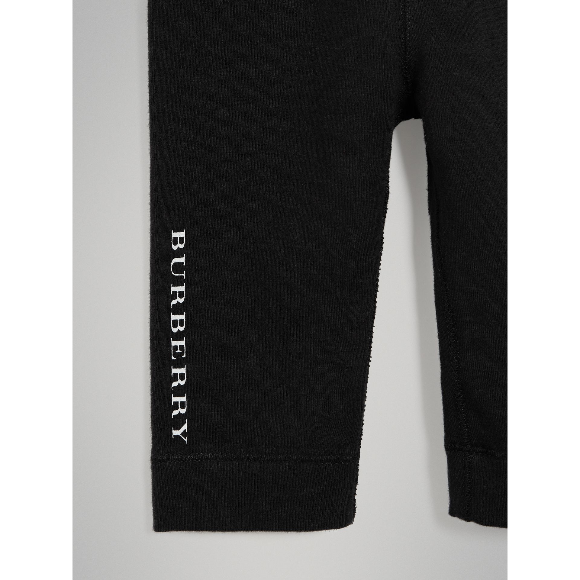 Logo Detail Stretch Cotton Leggings in Black - Children | Burberry Singapore - gallery image 4