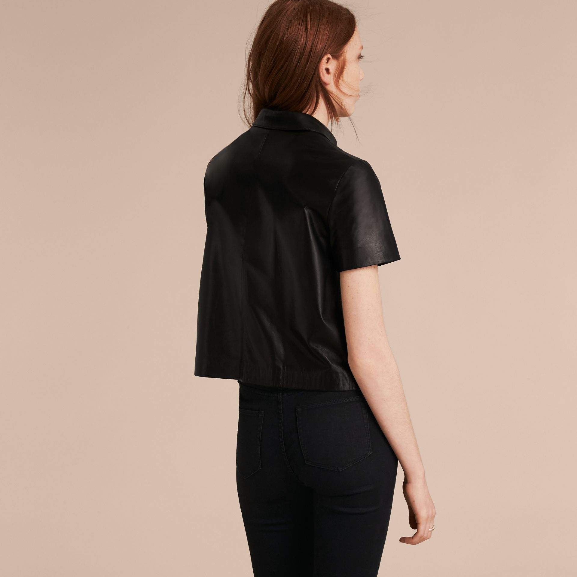Black Short-sleeved Lambskin Shirt - gallery image 3