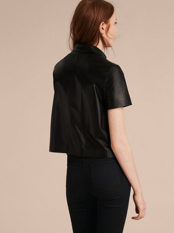 Black Short-sleeved Lambskin Shirt - cell image 2